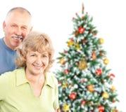 Christmas elderly couple royalty free stock image