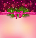 Christmas elegance background with fir branches and bow ribbon Royalty Free Stock Photos