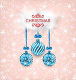 Christmas Elegance Card with Balls and Cloud Royalty Free Stock Photo