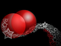 Christmas Elegant Abstract Ornament. Abstract Erotic Ornament With Two Big Red Ruby Bauble Balls And Lacy Curl Stars Over Deep Black Background Royalty Free Stock Photo