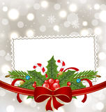 Christmas elegant card with holiday decoration Stock Photo
