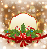 Christmas elegant card with holiday decoration Royalty Free Stock Image