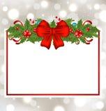 Christmas elegant card with holiday decoration Royalty Free Stock Image