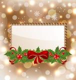 Christmas elegant card with mistletoe and bow Royalty Free Stock Photo