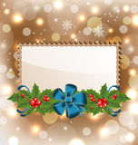 Christmas elegant card with mistletoe and bow Royalty Free Stock Image
