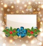 Christmas elegant card with mistletoe and bow Royalty Free Stock Image