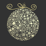 Christmas elegant golden ball. Christmas elegant golden globe made of snowflakes over dark background Royalty Free Stock Images