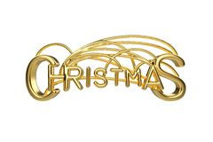 Christmas elegant golden lettering word with letters bound by strings isolated on white background. Holyday 3D stock illustration