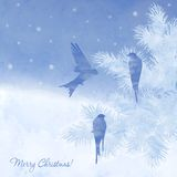 Christmas elegant watercolor card Royalty Free Stock Photo