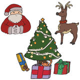 Christmas elemenents. Set of freehand christmas elements Royalty Free Stock Photography