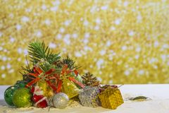Christmas element group set on gold background.  stock photos