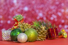 Christmas element group set on pink background.  stock images