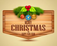 Christmas Element with message on wooden background Stock Photography