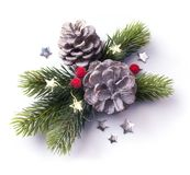 Christmas element on white background; top view. Art Christmas element on white background; top view royalty free stock image