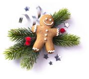 Christmas element on white background; top view stock photo
