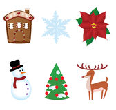 Christmas elements. Vector different christmas elements isolated on white Royalty Free Stock Image