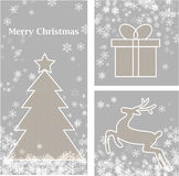 Christmas elements. With stars, tree, deer, present made from snowflakes Royalty Free Stock Photos