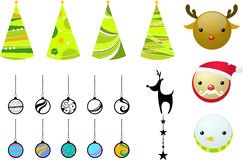 Christmas elements. Graphic elements, christmas tree and decoration for christmas stock illustration