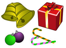 Christmas Elements. Featuring present box, bells etc vector illustration