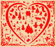 Christmas elements. Christmas joy, the various elements of the silhouette Royalty Free Stock Photography
