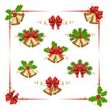 Christmas elements with bells and holly berry Stock Photography