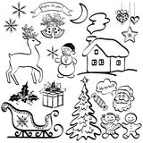 Christmas elements, black silhouettes Stock Images