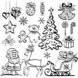 Christmas elements, black silhouettes Royalty Free Stock Photos