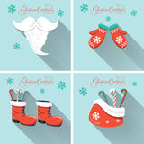 Christmas elements on blue background with long shadow. Design for Christmas holidays. Royalty Free Stock Images