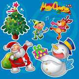 Christmas elements blue. Vector set of colorful cute christmas characters and decorations Stock Images