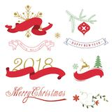 Christmas elements, border and fonts Royalty Free Stock Image