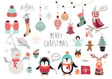 Christmas elements collection Stock Photos