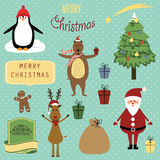 Christmas elements. Cute christmas background with Santa, reindeer, bear and penguin Royalty Free Stock Photos