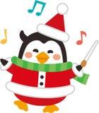 Christmas elements. Cute Santa Penguin swinging baton stick.Flat design.Vector illustration.Cartoon character. stock illustration