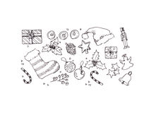 Christmas elements doodle Stock Image