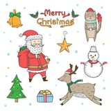 Christmas elements freehand drawn cartoons. Doodle style royalty free stock photography