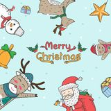 Christmas elements freehand drawn cartoons. Doodle style stock images