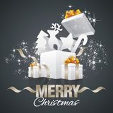 Christmas elements gift boxes abstract black vector. Stardust gold ribbon Royalty Free Stock Photo