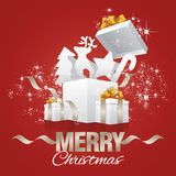 Christmas elements gift boxes abstract red vector. Stardust gold ribbon Royalty Free Stock Photo