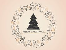 Christmas elements on gold background with christmas tree for wrapping, invitation card or other banners. Vector illustration EPS. Christmas elements on gold Stock Images