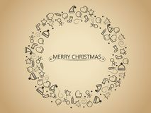 Christmas elements on gold background in circle form tree for wrapping, invitation card or other banners. Vector illustration EPS. Christmas elements on gold Stock Image