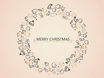 Christmas elements on gold background in circle form tree for wrapping, invitation card or other banners. Vector illustration EPS. Christmas elements on gold Stock Images