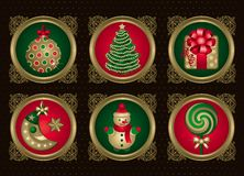 Christmas elements in Gold (set 1) Stock Photos