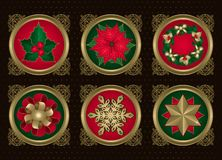 Christmas elements in Gold (set 2). A collection of Christmas elements which includes a holly, a poinsettia, a wreath, a ribbon, a snowflake, a star Royalty Free Stock Images
