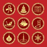 Christmas elements on red Stock Images