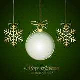 Christmas elements on green background. Golden Christmas elements with bow on green background, illustration Royalty Free Stock Photo