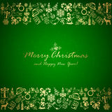 Christmas elements on green background. Golden Christmas elements on green background, holiday decorations with Christmas tree, balls, bells, candle, snowflakes Stock Image