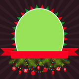 Christmas elements with green empty banner and red ribbon Stock Photo