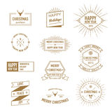 Christmas elements for greeting card. Collection of Christmas and New Year greeting phrases and elements in retro style. Perfect for bages, labels, holiday Stock Photo
