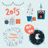 Christmas elements for greeting card Royalty Free Stock Photo