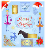 Christmas elements illustration set Stock Image
